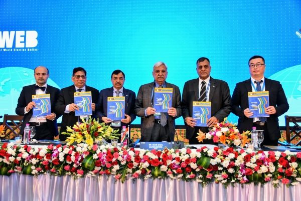 CEC Sunil Arora along with EC Ashok Lavasa, EC Sushil Chandra and Senior DEC Umesh Sinha launched the ninth edition of VoICE International Magazine at the 4th Genereal Assembly of AWEB in Banaglore