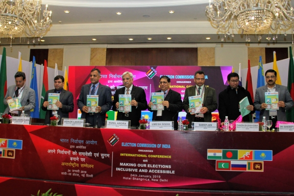 CEC Sunil Arora launches the 7th Edition of VoICE International Magazine at the International Conference on Inclusive and Accessible Elections on 24th January 2019