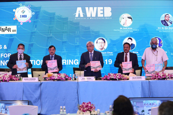 "Release of the first document of India A-WEB Centre ""Brief Profiles of Countries, EMBs and Partner Organizations of A-WEB"" by Election Commission of India"
